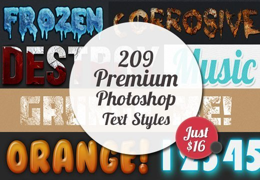 Friday Special: 209 Premium Photoshop Text Styles for Just $16