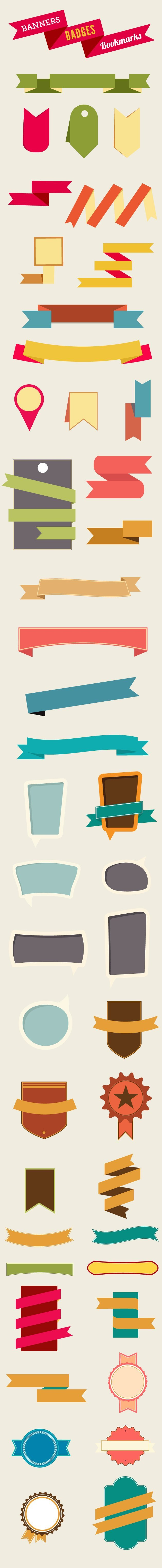 banners-bookmarks-badges-flat-vector-elements-large