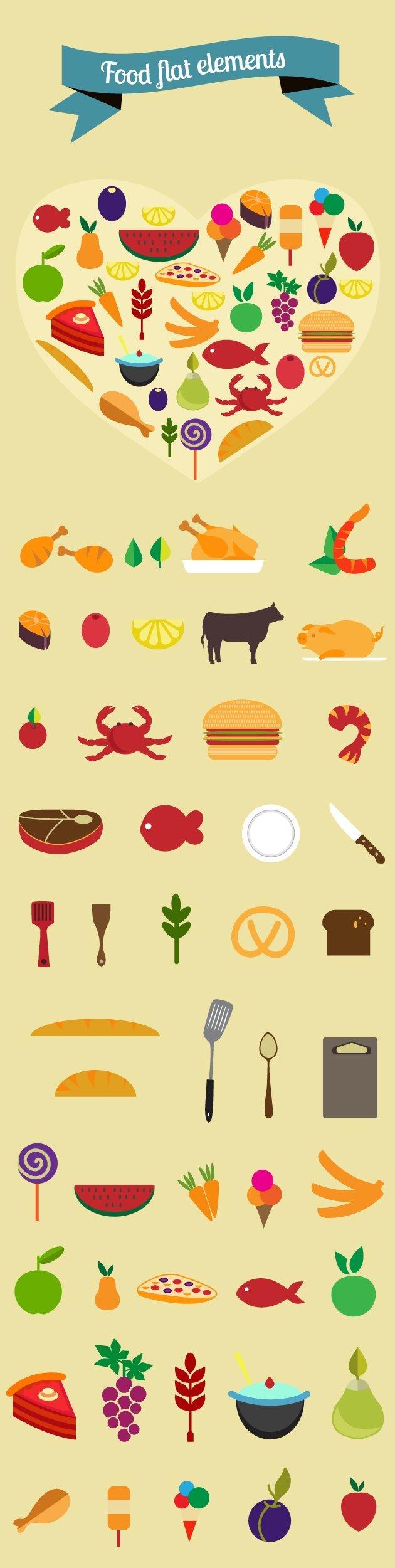 designtnt-food-flat-vector-elements-large