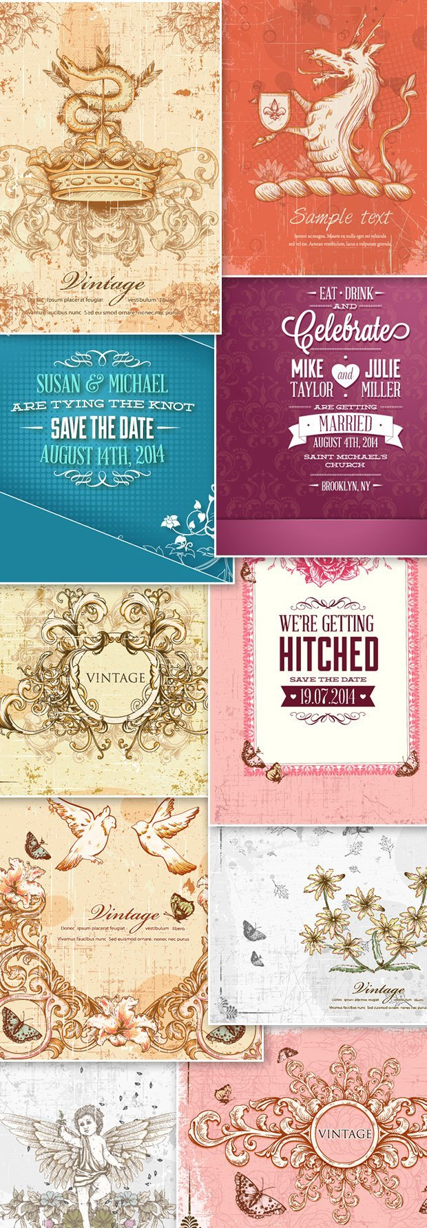 10-free-vintage-wedding-vector-illustrations-preview
