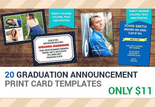 20 Graduation Announcement Print Templates – Only $11