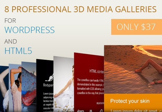 8 Professional 3D Media Galleries for WordPress and HTML5 – Only $37