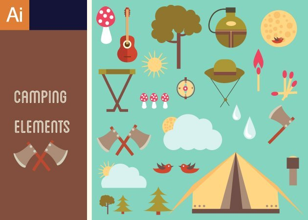 Designtnt-Vector-Cute-Camping-Vector-Set-1-small