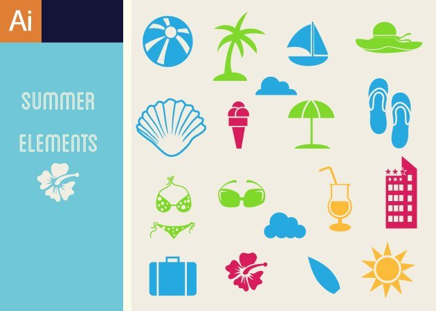 Designtnt-Vector-Flat-Summer-Icons-Vector-Set-1-small