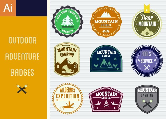 Designtnt-Vector-Outdoor-Adventure-Badges-Vector-Set-1-small