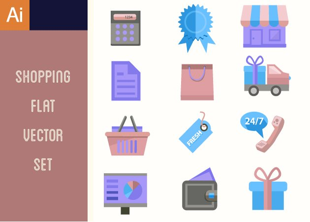 Designtnt-Vector-Shopping-Flat--Vector-Set-1-small