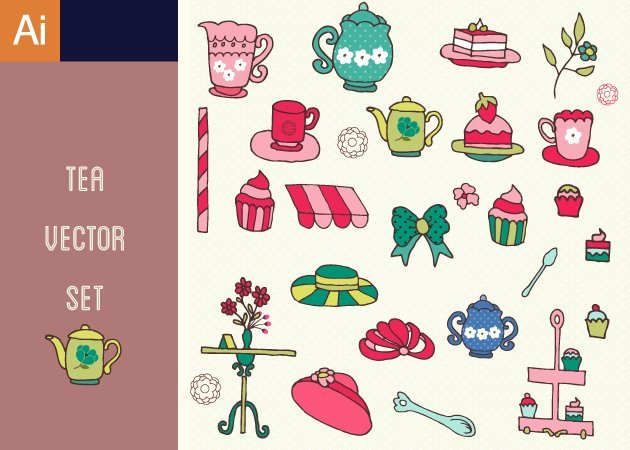 Designtnt-Vector-Tea-Party-Vector-Set-1-small