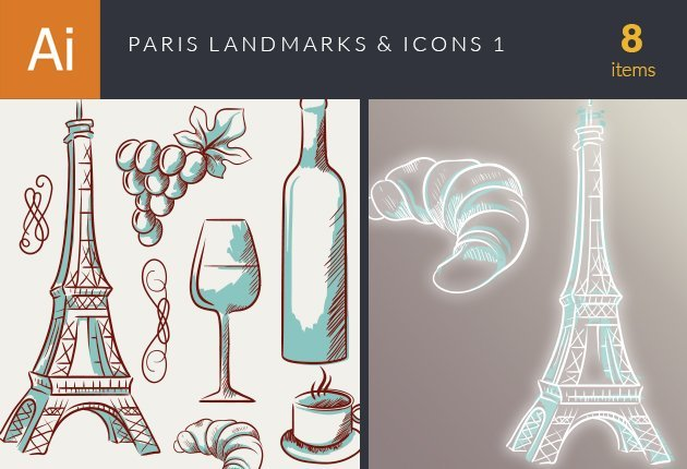 designtnt-vector-paris-landmarks-and-icons-set-1-small