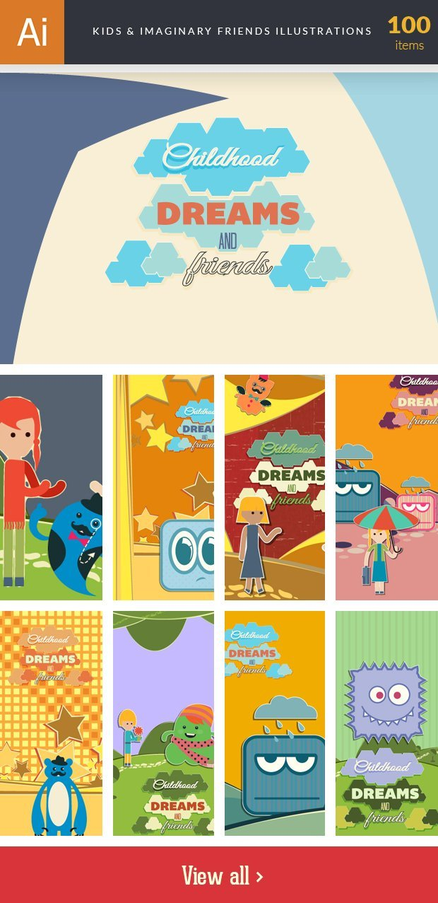 inkydeals-vector- kids&imaginary friends -illustrations-small