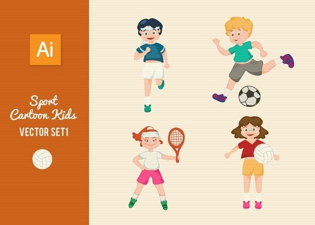 Designtnt-Vector-Sports-Cartoon-Kids-Set1-small