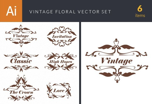 design-tnt-vector-Floral Vintage Ornaments Set 2-small