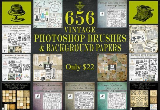 656 Gorgeous Vintage PS Brushes & Background Papers from Le Paper Café – Only $22