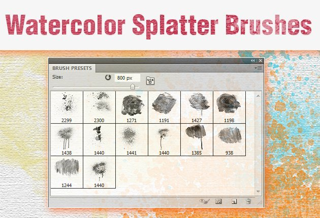 Watercolor Styles designtnt-watercolor-splatter-brushes-small