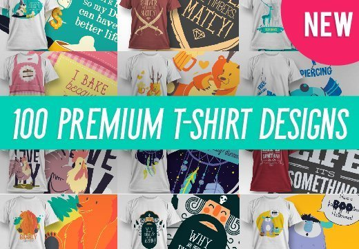 100 Premium T-Shirt Designs with Extended License (免费下载)