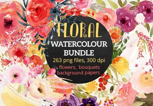 inkydeals-new-floral-watercolor-bundle-preview