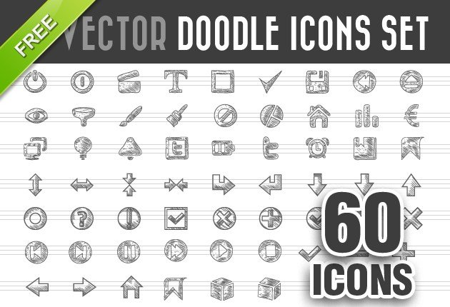 Free Doodle Icons Vector Set - InkyDeals