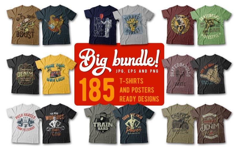 185 Unique And Creative T-Shirt Designs Bundle