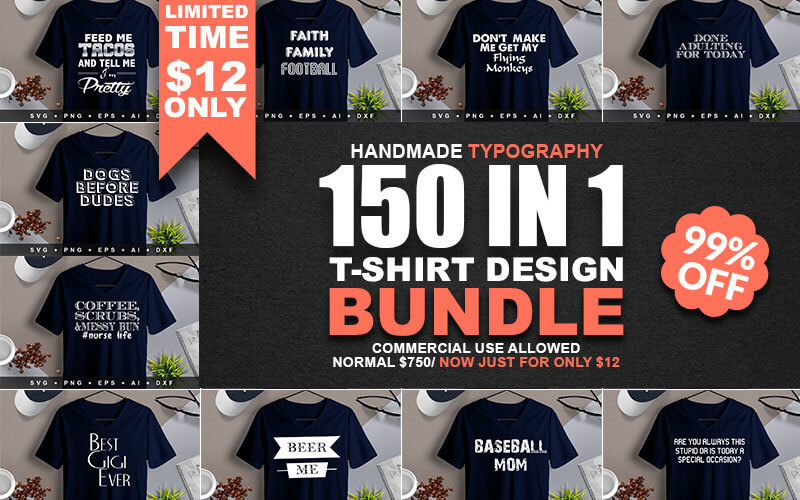 150-In-1 T-Shirt Design Bundle