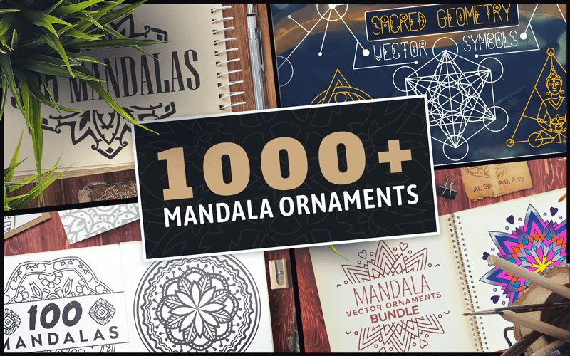 $12 (reg $191) 1000+ Mandala Ornaments Bundle from Inky Deals