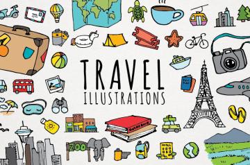 travel illustrations bundle
